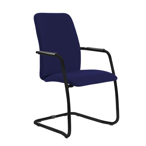 Tuba black cantilever frame conference chair with fully upholstered back - Ocean Blue