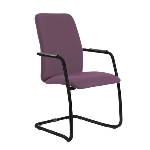 Tuba black cantilever frame conference chair with fully upholstered back - Bridgetown Purple