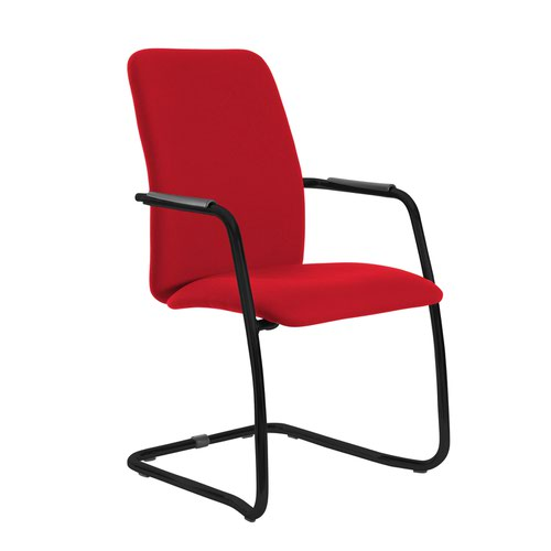Tuba black cantilever frame conference chair with fully upholstered back - Belize Red