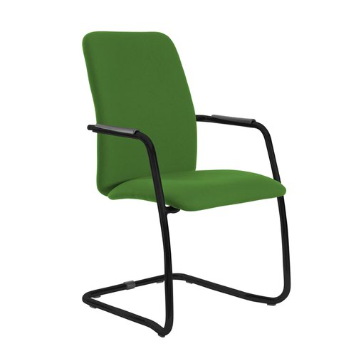 Tuba black cantilever frame conference chair with fully upholstered back - Lombok Green