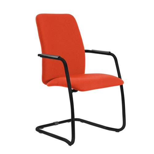 Tuba black cantilever frame conference chair with fully upholstered back - Tortuga Orange