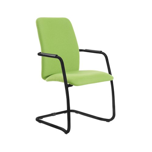 Tuba black cantilever frame conference chair with fully upholstered back - made to order