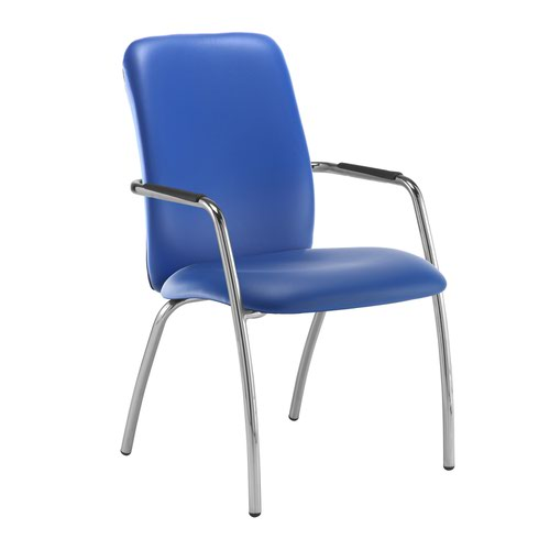 Tuba chrome 4 leg frame conference chair with fully upholstered back - Ocean Blue vinyl