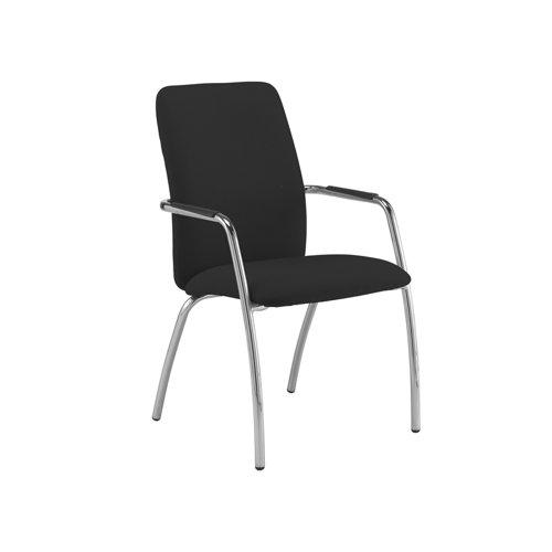 Tuba chrome 4 leg frame conference chair with fully upholstered back - Havana Black