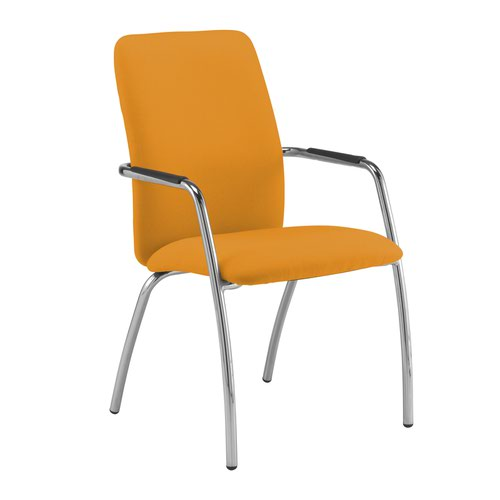 Tuba chrome 4 leg frame conference chair with fully upholstered back - Solano Yellow