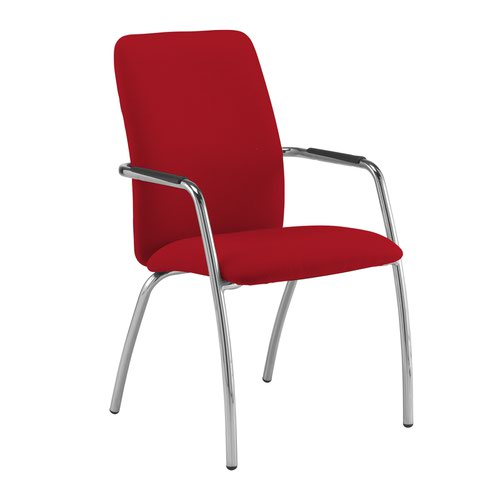 Tuba chrome 4 leg frame conference chair with fully upholstered back - Panama Red