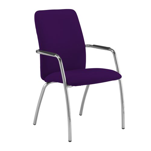 Tuba chrome 4 leg frame conference chair with fully upholstered back - Tarot Purple