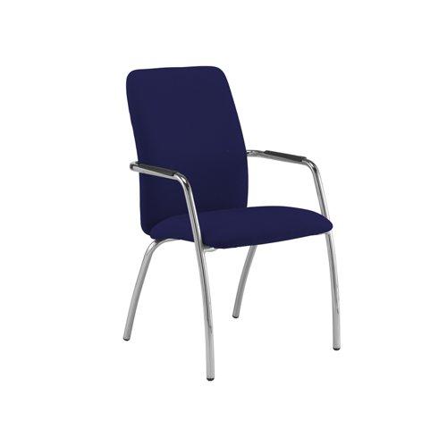 Tuba chrome 4 leg frame conference chair with fully upholstered back - Ocean Blue