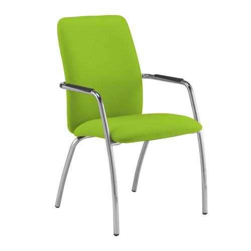 Tuba chrome 4 leg frame conference chair with fully upholstered back - Madura Green