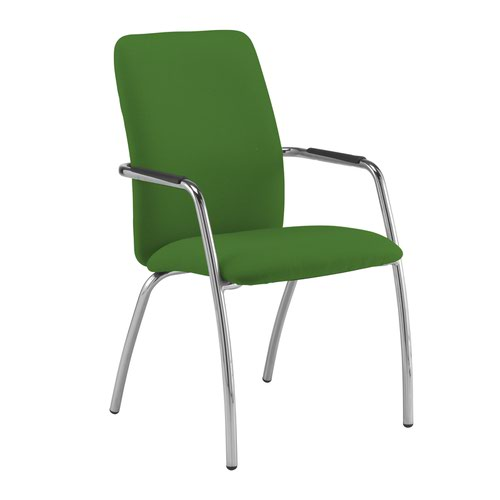 Tuba chrome 4 leg frame conference chair with fully upholstered back - Lombok Green