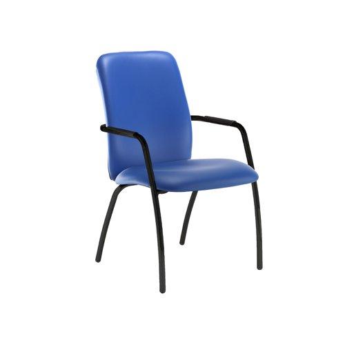 Tuba black 4 leg frame conference chair with fully upholstered back - Ocean Blue vinyl