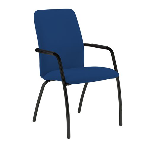 Tuba black 4 leg frame conference chair with fully upholstered back - Curacao Blue