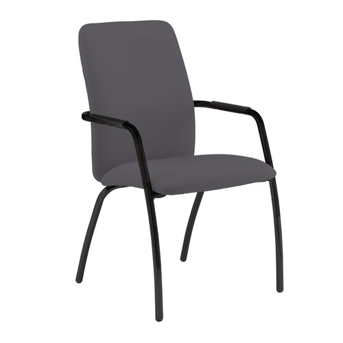 Tuba black 4 leg frame conference chair with fully upholstered back - Blizzard Grey