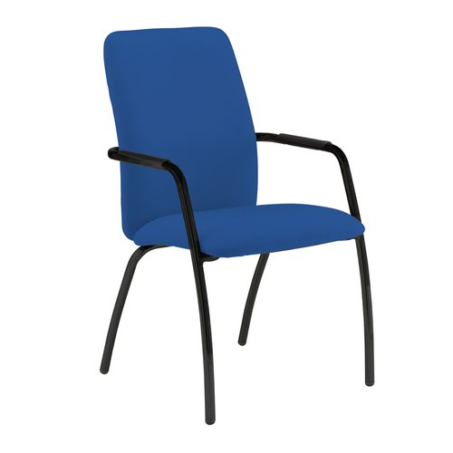 Tuba black 4 leg frame conference chair with fully upholstered back - Scuba Blue