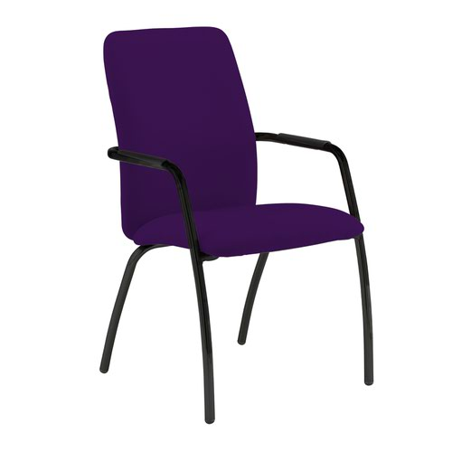 Tuba black 4 leg frame conference chair with fully upholstered back - Tarot Purple