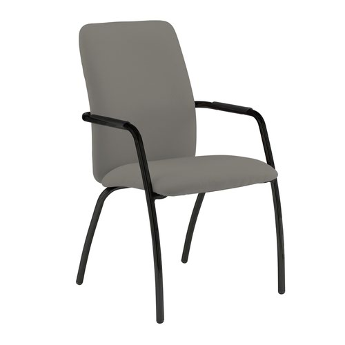 Tuba black 4 leg frame conference chair with fully upholstered back - Slip Grey