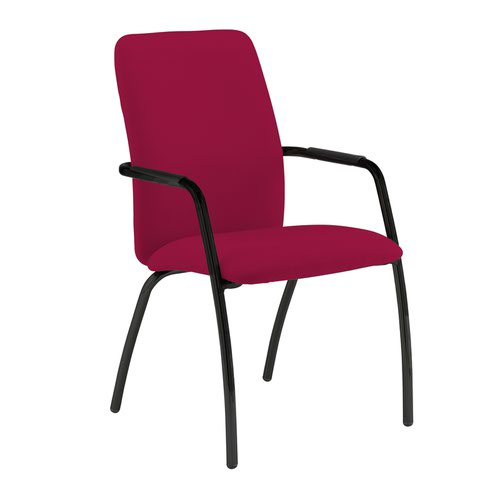 Tuba black 4 leg frame conference chair with fully upholstered back - Diablo Pink