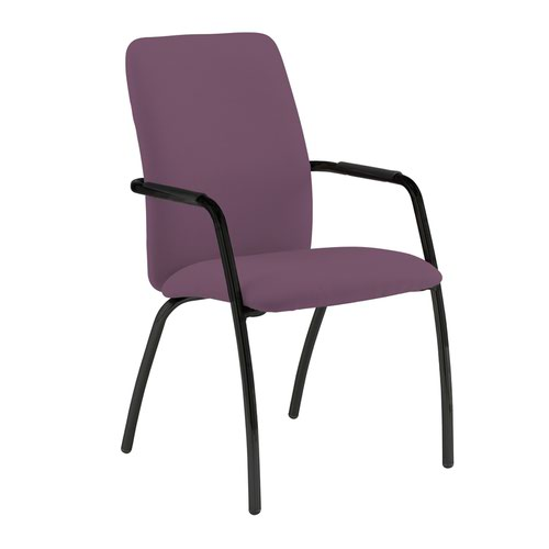 Tuba black 4 leg frame conference chair with fully upholstered back - Bridgetown Purple