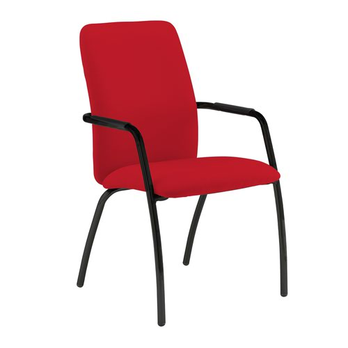 Tuba black 4 leg frame conference chair with fully upholstered back - Belize Red