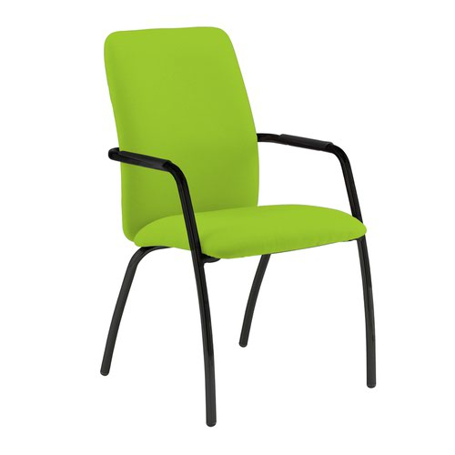 Tuba black 4 leg frame conference chair with fully upholstered back - Madura Green
