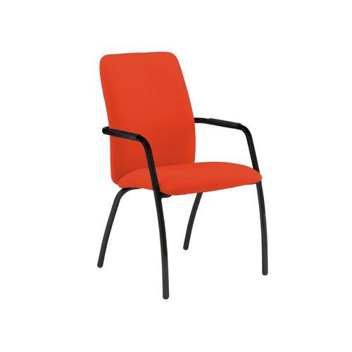 Tuba black 4 leg frame conference chair with fully upholstered back - Tortuga Orange