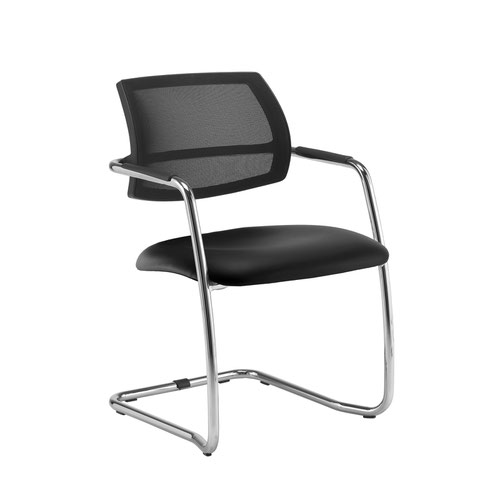 Tuba chrome cantilever frame conference chair with half mesh back - Nero Black vinyl