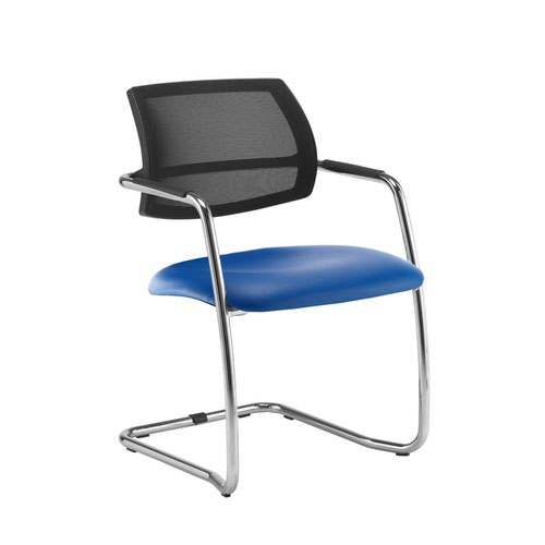 Tuba chrome cantilever frame conference chair with half mesh back - Ocean Blue vinyl