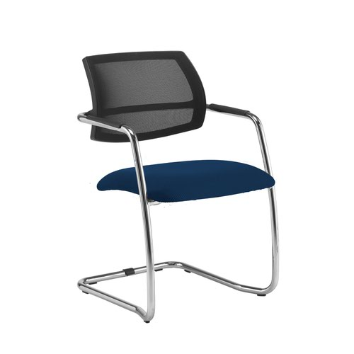 Tuba chrome cantilever frame conference chair with half mesh back - Costa Blue