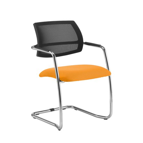 Tuba chrome cantilever frame conference chair with half mesh back - Solano Yellow