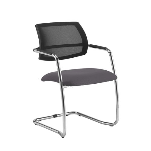 Tuba chrome cantilever frame conference chair with half mesh back - Blizzard Grey