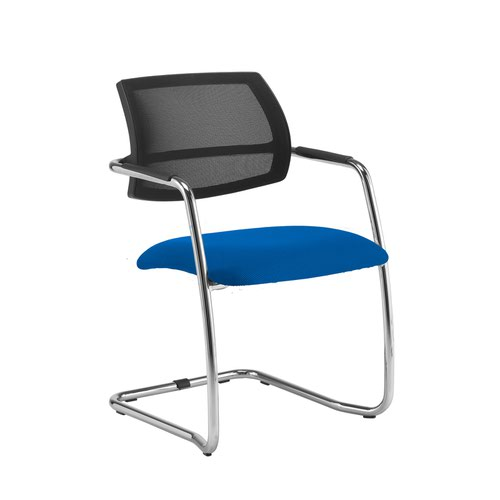 Tuba chrome cantilever frame conference chair with half mesh back - Scuba Blue