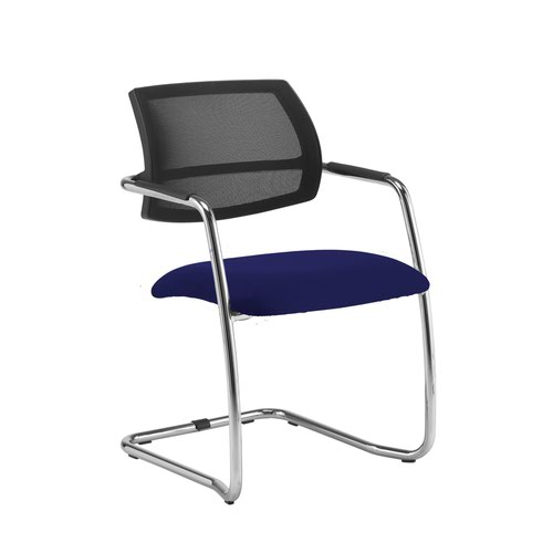 Tuba chrome cantilever frame conference chair with half mesh back - Ocean Blue