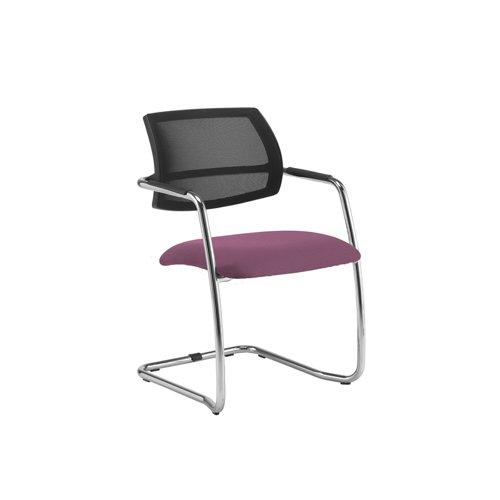 Tuba chrome cantilever frame conference chair with half mesh back - Bridgetown Purple