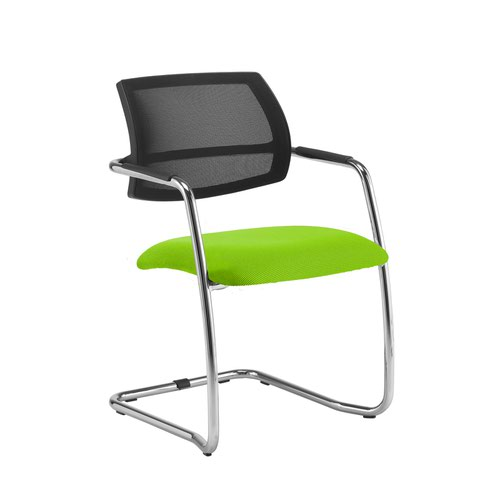 Tuba chrome cantilever frame conference chair with half mesh back - Madura Green