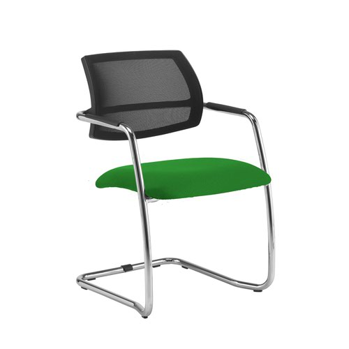 Tuba chrome cantilever frame conference chair with half mesh back - Lombok Green
