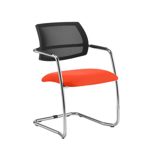 Tuba chrome cantilever frame conference chair with half mesh back - Tortuga Orange