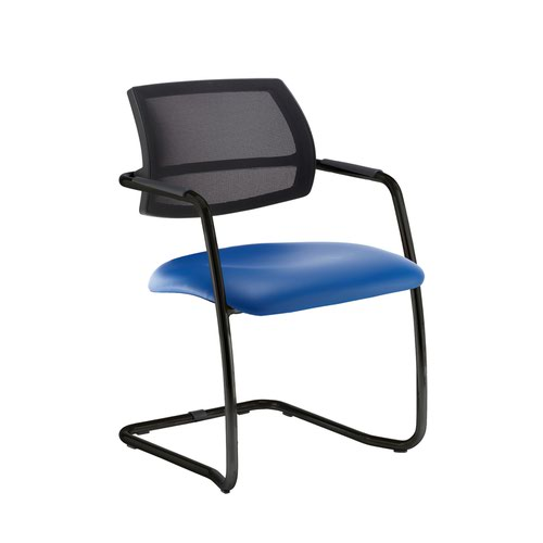 Tuba black cantilever frame conference chair with half mesh back - Ocean Blue vinyl