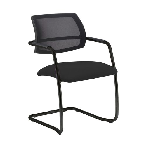 Tuba black cantilever frame conference chair with half mesh back - Havana Black