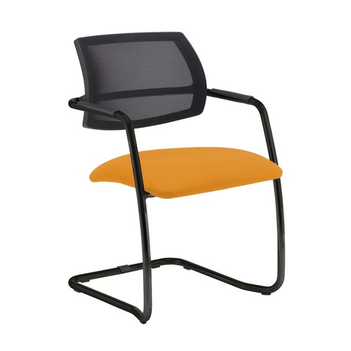 Tuba black cantilever frame conference chair with half mesh back - Solano Yellow