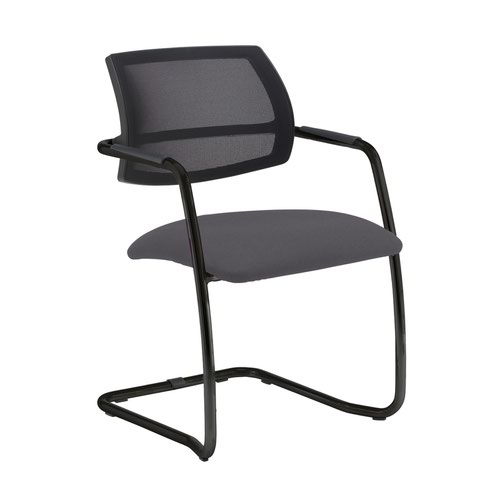 Tuba black cantilever frame conference chair with half mesh back - Blizzard Grey