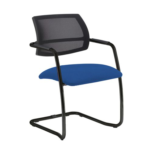 Tuba black cantilever frame conference chair with half mesh back - Scuba Blue