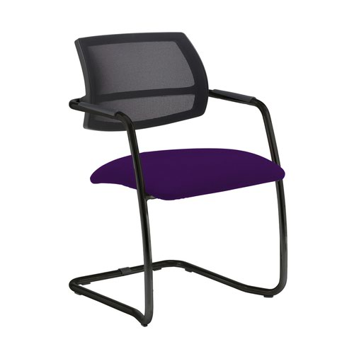 Tuba black cantilever frame conference chair with half mesh back - Tarot Purple