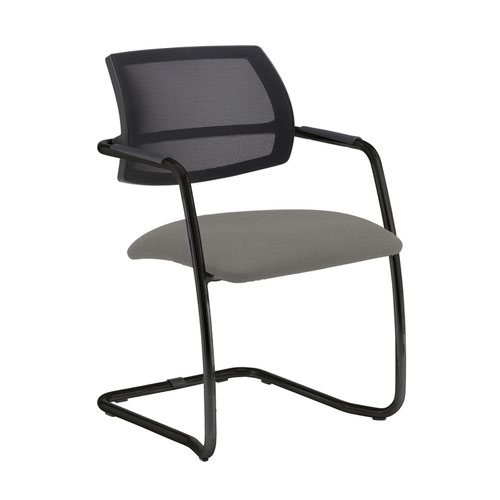Tuba black cantilever frame conference chair with half mesh back - Slip Grey