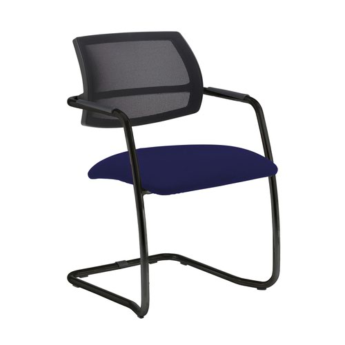Tuba black cantilever frame conference chair with half mesh back - Ocean Blue