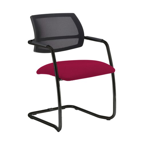 Tuba black cantilever frame conference chair with half mesh back - Diablo Pink