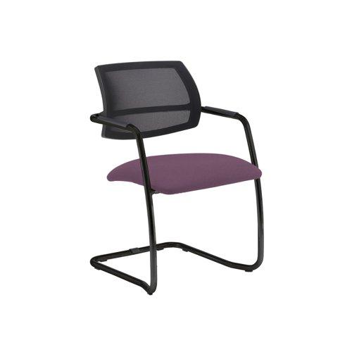 Tuba black cantilever frame conference chair with half mesh back - Bridgetown Purple