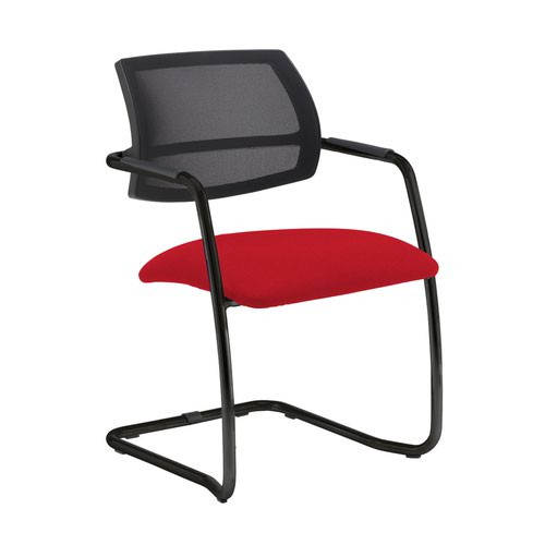 Tuba black cantilever frame conference chair with half mesh back - Belize Red