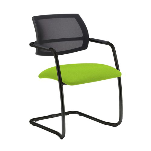 Tuba black cantilever frame conference chair with half mesh back - Madura Green