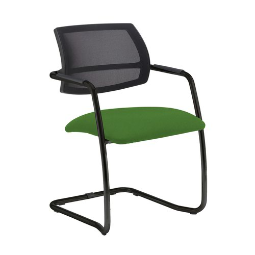 Tuba black cantilever frame conference chair with half mesh back - Lombok Green