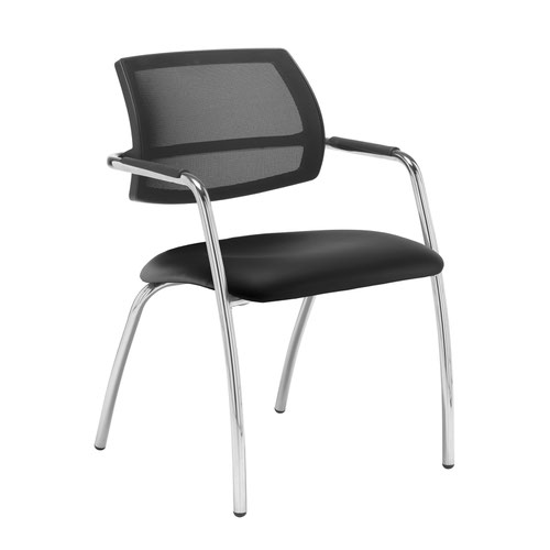Tuba chrome 4 leg frame conference chair with half mesh back - Nero Black vinyl